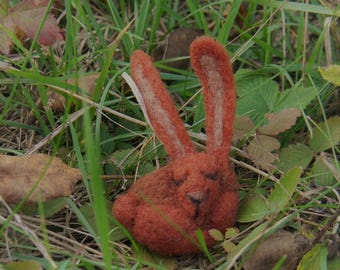 Wool brooch, rabbit brooch, felted brooch