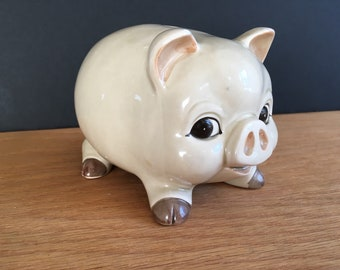 Pig Piggy Bank, Vintage with stopper Japan OMC