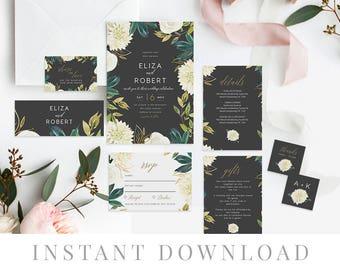Black Wedding Invitation Set INSTANT DOWNLOAD, Wedding Invite, DIY Printable Invite, Templett, Black, White Flowers, Australian, Audrey