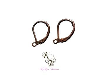 Copper Earrings 4 Pairs Antique Copper Leverback Earrings Leverback Earrings Copper Plated Earrings Copper Plated Jewelry Copper Findings
