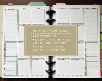 Half-Letter Undated Week On One Page | SUN + MON | Printable Insert