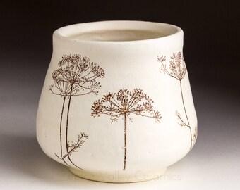 Tea Bowl - Yunomi - Ceramic Wine Cup - Stoneware Tumbler - Juice Cup - Pottery Glass - Handleless Mug - White Ceramic Cup - Botanical