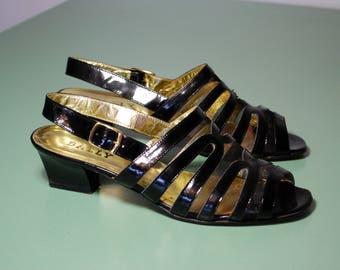 Black Bally Sandals, Size 37, UK 4.5, Eighties, Patent, Mesh