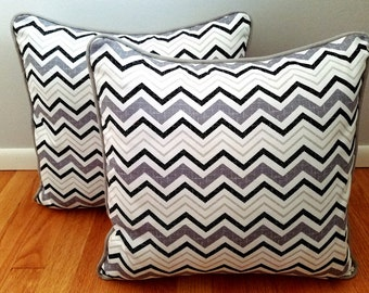 """Black, White and Grey Chevron 18""""x18"""" Decorative Throw Pillow Cover. Accent Pillow, Toss Pillow, Bedroom Decor, Cushion Cover"""