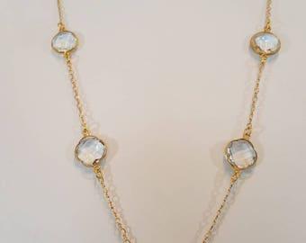 Ippolita Necklace //Crystal Station Necklace//Rock Crystal Necklace//Gold Necklace//Statement Necklace//Necklace Earring Set