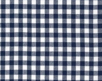 Navy Blue Medium (1/4 inch.) Carolina Gingham Fabric by Robert Kaufman.  100% cotton P-P-16368-9 - By the 1/2 Yard