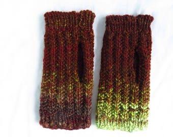 Algal Rust - Handspun, handknit mitts - handspun wool, rust, dark red, fingerless gloves, hand warmers, mittens, fall colors, knitted gloves