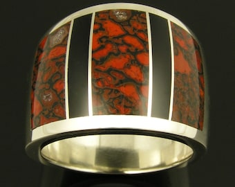 Red dinosaur bone and black onyx inlaid in sterling silver wide ring band by Mark Hileman.