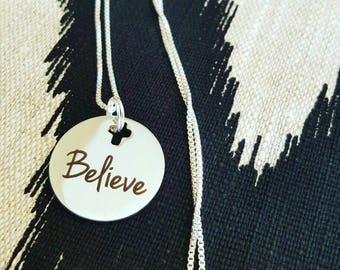 Believe Necklace // Silver Chain Christian Faith