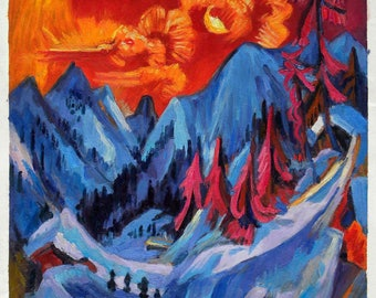 Winter Moon Landscape - Ernst Ludwig Kirchner hand-painted oil painting reproduction,house in the Swiss Alps landscape,fantastic moonset art