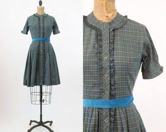 50s Dress Jonathan Logan Dress XS / 1950s Vintage Dress Plaid Cotton Shirtwaist / Blueberries and Olives Dress