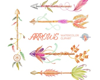 Arrows Watercolor Clipart, Hand Painted Elements, Feather, Wedding Invitation, Greeting Card, DIY Elements