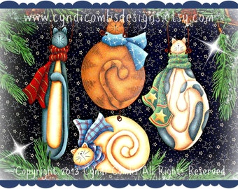 CC122 - Wynter Kitties Ornaments - Painting E Pattern by Cyndi Combs