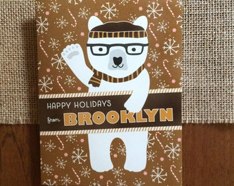 Polar Brooklyn Folded Holiday Cards, Box of 10 - Brooklyn Christmas Cards - Happy Holidays from Brooklyn - OC1174-BR-BX