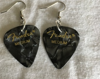 Fender black marble earrings