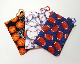 Sport Themed Coin Purses, Set of Three Sport Zipper Pouches, Basketball, Baseball, Footbal