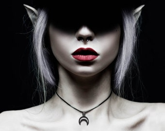Rhea Choker in Black - A choker with a hollow crescent to let you carry the night's light