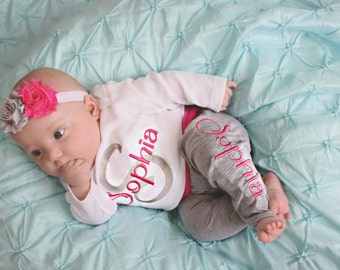 Baby Girl Gift Personalized Baby Clothes Baby Girl Clothes Personlized Baby Girl Leggings Newborn Girl Coming Home Outfit Toddler Girl