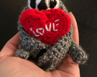 Crocheted Finger Sloth with Heart- Gray