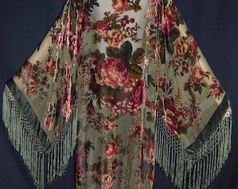 Sage Green Goddess with Burgundy Victorian Rose's Kimono Duster