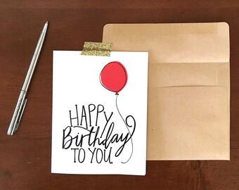 Birthday Card, Handlettered Card