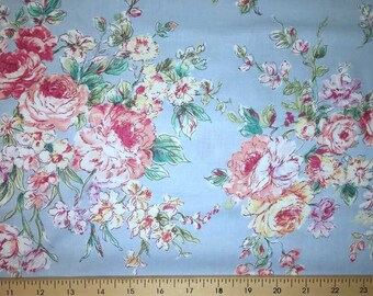 Pink Rose Fabric Blue Shabby Chic Floral Fabric Shabby Floral Cotton Fabric Yardage t1/28