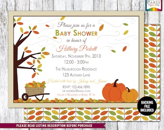 PRINTABLE Autumn / Fall Leaves Gender Neutral Pumpkins Baby Shower Invite - Personalized - Digital Invitation 4x6 or 5x7 jpg or pdf