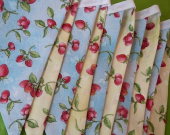 Sweet Berries -  Strawberry and Cherries Picnic, Party Bedroom Fabric Bunting Flags (10) - 9 Feet