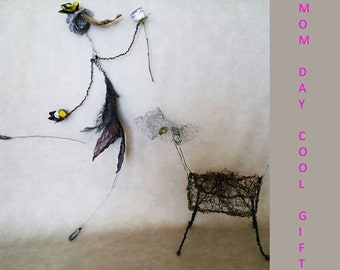 Metal wire wall art Wall hanging Spring Easter decor Mother day Mesh Strainer sculpture Contemporary Living room Bohemian Butterfly Boho 3D