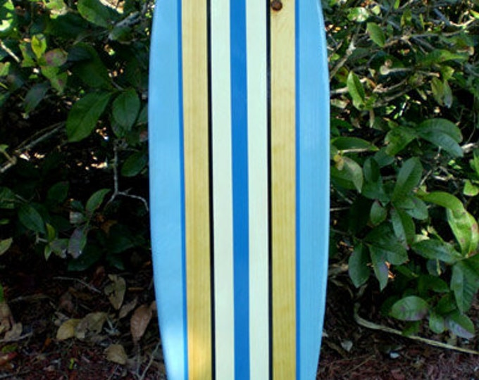 Featured Listing Image: Blue Tropical Classic Pinstripe Style Longboard Surfboard  Wall Art Solid Wood FL