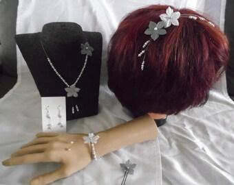Bridal dress evening wedding ceremony 5 piece silk flower pearls grey / white Christmas