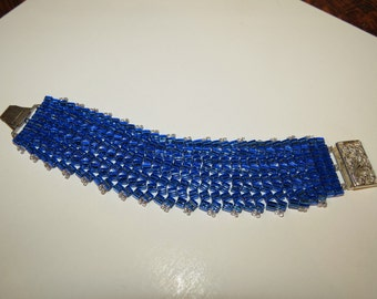 Blue Miyuki Herringbone beaded cuff with beautiful silver tone closure!