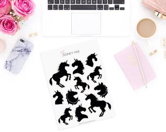 Shadow Unicorns Stickerset-watercolour sticker-Pretty planning-scrapbooking-bullet journaling