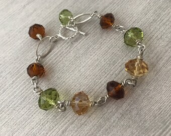 Autumn Harvest Wire Wrapped Silver Bracelet