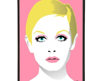 Twiggy illustration inspired by iconic 1960s fashion models, part of the 1960s models collection of pop art prints