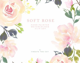 Hand Painted Watercolour Rose Clipart - Soft Rose