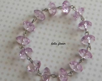 Lot 14 transparent pink faceted beads