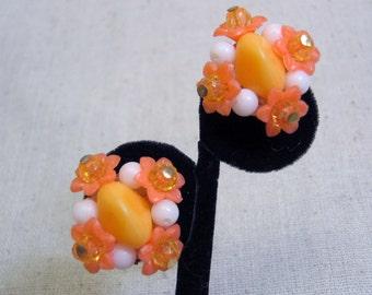 Hot Orange Beaded Clip On Earrings, Vintage, Cute