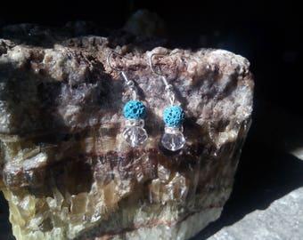 Blue Volcanic rock Earrings & Crystal