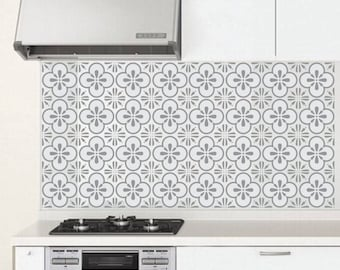Kitchen Tile Decal Farmhouse Style Wall Sticker Rustic Design Popular Flower Tile Design for Bathroom Apartment Kitchen Moroccan Style Decal