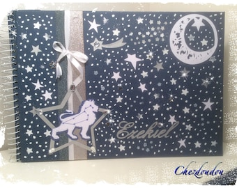 """Birth size 20 """"blue"""" A4 album pages personalized with name"""