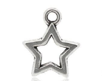 5 star handmade charms in silver