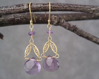 Amethyst Earrings - Purple - Earrings - February Birthstone - Birthstone Jewelry -Filagree Earrings- Gold- Dangle - Drops - Gold Chain