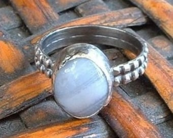 Blue Lace Agate and Sterling Silver Ring