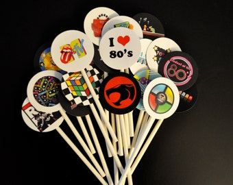 20 Totally Awesome 80s Cupcake Toppers, 80s Theme Party cake, I love the 80s, 80s party, 80s party decorations, 80s birthday, 80s cake