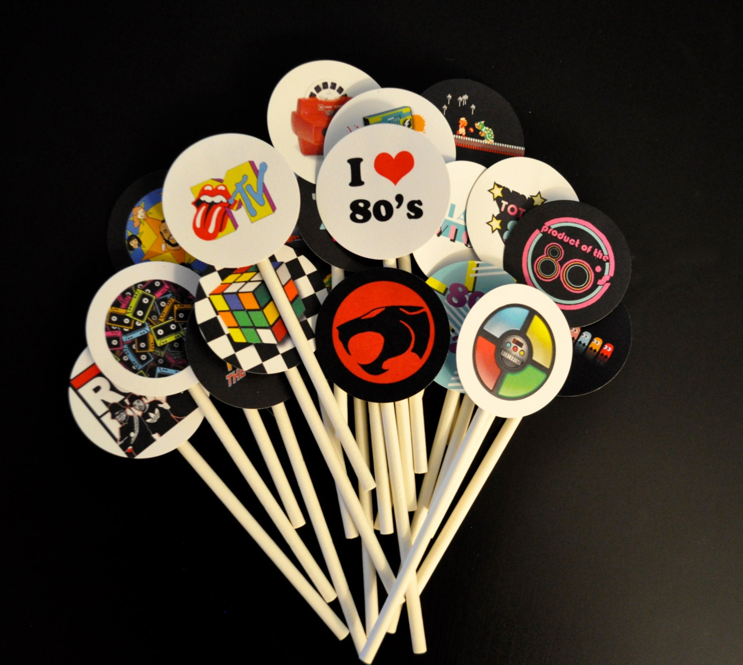 20 Totally Awesome 80s Cupcake Toppers 80s Theme Party cake