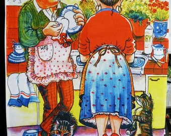 Humorous handmade cotton Tea towel  'You wash, I'll dry' depicting a scene of domestic bliss ( although the cats look a bit hungry!)
