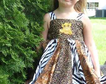 custom boutique twirl dress made with simba patch  size 2-6 New fabric LAST ONE