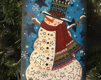Snowman Tag, Laurie Speltz, Snowman, Winter, Holiday Decor, Stars, Christmas, Ribbon, Tag on Stand, Decoration
