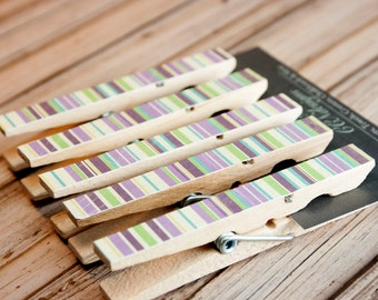 Green& Purple Stripe Clothespin Magnets, Set of 5